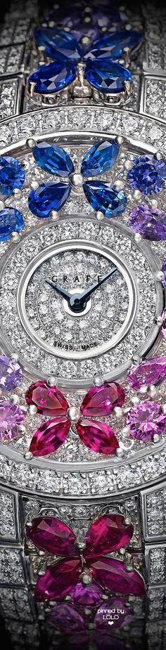 Graff Diamonds Butterfly Motif Diamond and Multicoloured Sapphire Watch.
