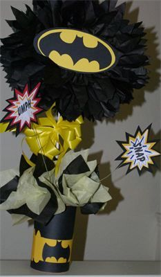 Centerpieces : Batman with utility belt, this would be fun for survivor dinner center pieces.