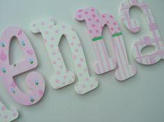 Custom hand painted wooden wall letters por MySweetDreamsArt