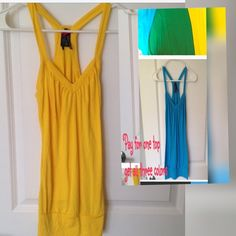 Tank Top Bundle YellowGreen Blue Don't you just love bundles??Beautiful like new tank tops in three delicious colors. Yellow. Blue. Green. Size small. Loads of wear from these wonderful colors by themselves or under blouse or sweater. Body Central Tops Tank Tops