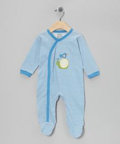 Take a look at this Blue Stripe Organic Footie - Infant by My O Baby on #zulily today!