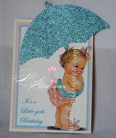 Vintage Baby Girl Birthday Invitation Set of 10 by MaluBoutiques