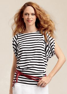 Stripe Jersey Butterfly Top