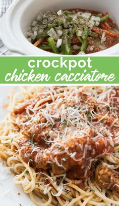 Do you need a healthy family dinner that will cook itself? This Crockpot Chicken Cacciatore became and instant HEALTHY family favorite at my house. Healthy Family Dinners, Family Fresh Meals, Easy Weeknight Meals, Quick Easy Meals, Family Recipes, Crockpot Chicken Cacciatore, Cacciatore Recipes, Crockpot Chicken Thighs, Slow Cooker Recipes