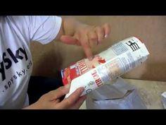 Artesanato com caixas de leite - vaso