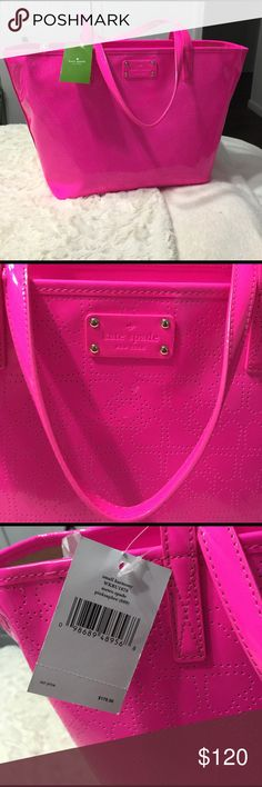 NWT - Kate Spade hot pink handbag New with tags - hot pink Kate spade hand bag - great for the spring/summer season! Offers welcome kate spade Bags Totes