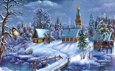 Victorian Christmas Cards Victorian Scenes | Winter Village Scene Downloadable Printable Digital by naturepoet