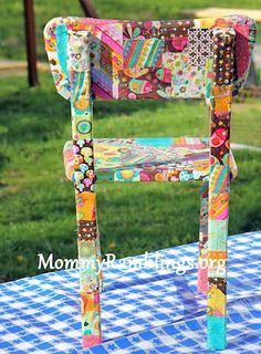 Fabric Scraps  Don't throw those scraps in the garbage - patchwork a child's chair instead.