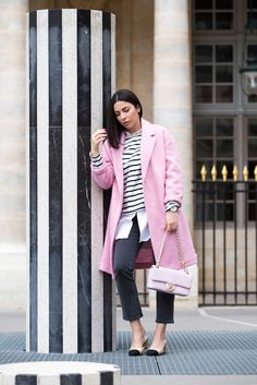 Stella Asteria wearing pink Chanel bag, pink Mango coat & Chanel slingbacks