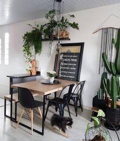 Sala de jantar: 100 designs encantadores para se inspirar - h o m e - Decor, Furniture, Home, Dinner Room, Sweet Home Alabama, Industrial Home Offices, Modern Furniture Living Room, Beautiful Bedding, Living Decor