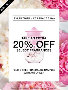 March 21–22: Get an extra 20% off select full-sized fragrances at my Avon eStore! #AvonRep