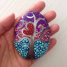Mini Trees of Life Dot Art, Charm gifts for friends, Painted stone painted rock Fairy garden marker decoration stone art dotilism - ROCK ART Rock Painting Patterns, Dot Art Painting, Rock Painting Designs, Mandala Painting, Pebble Painting, Pebble Art, Mandala Art, Stone Painting, Mandala Painted Rocks