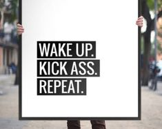 Printable Art Typography Poster Wake Up Kick Ass by ArtCoStore