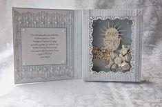 Moja pierwsza rozetka i kolejna kartka w formie książki. Rozetkę musiałam wkomponować w tę kartkę, po prostu musiałam ...:) tak mi się spo... First Communion Cards, Elizabeth Craft, Card Book, Baptism Gifts, Card Making Tutorials, Shadow Box, Wedding Cards, Birthday Cards, Diy And Crafts