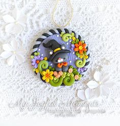 Handcrafted Polymer Clay Fall Kitty Ornament