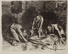 """Ernst Barlach (German, 1870-1938). """"Der arme Vetter"""" - Letzer Dienst 2 / Final Duty 2. Original lithograph, 1919."""