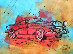 Painting  American car by TableauxAxelleBosler on Etsy