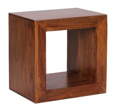 WOHNLING Standregal Massivholz Sheesham 44cm Hoch Cube Regal Design  Holzregal Natur Produkt Beistelltisch Landhaus