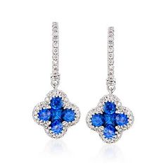 """Ross-Simons - Gregg Ruth 1.02 ct. t.w. Sapphire and .26 ct. t.w. Diamond Drop Earrings in 18kt White Gold. 3/4"""" - #775068"""