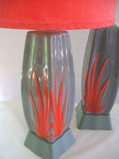 EXTRAORDINARY PAIR 1940'S TROPICAL LAMPS .......dustysimi.com