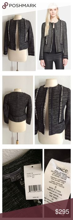 "🆕Vince Boucle jacket Vince Boucle jacket. Size 0. Measures 20"" long with a 34"" bust. Fully lined (including sleeves). Black/ gray/ white color combination. 🚫NO TRADES🚫 💲Reasonable offers accepted💲 💰Ask about bundle discounts💰 Vince Jackets & Coats"