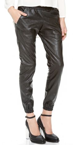 Heidi Merrick Black Faux Leather Sweatpants