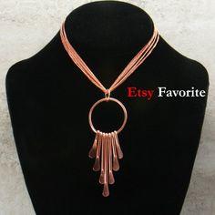 Contemporary Copper Pendant Necklace, Copper Jewelry, Hammered Copper Statement Necklace, Copper Ann