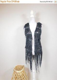 50% OFF FALL SALE Vintage 90s Dark Gray Crocheted Knitted Fringe Tassel Holey Open Sleeveless Tank Top Sweater Vest Waistcoat Sz Small by WearingMeOutVtg on Etsy