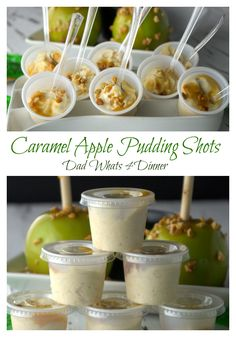 Caramel Apple Pudding Shots are perfect for your fall parties or tailgating. Just like favorite fall treat with a nice little kick! Maybe with salted caramel vodka? Pudding Shot Recipes, Jello Pudding Shots, Jello Shot Recipes, Alcohol Drink Recipes, Dessert Recipes, Cheesecake Recipes, Pudding Cups, Baking Desserts, Holiday Drinks