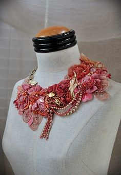 PEONY Pink Peach Beaded Textile Statement Necklace