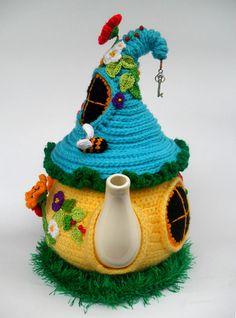 Fairytale house Fairy house teapot cosy tea cozy Knit