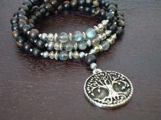 Women's Labradorite Strength Wisdom Mala - Tree of Life Mala Necklace or Wrap Bracelet - Yoga, Buddhist, Prayer Beads, Jewelry. via Etsy. Beaded Jewelry, Jewelry Bracelets, Jewelery, Handmade Jewelry, Beaded Necklace, Wrap Bracelets, Bangles, Necklaces, Women Jewelry