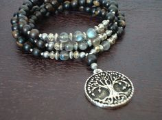 Women's Labradorite Strength & Wisdom Mala - Tree of Life Mala Necklace or Wrap Bracelet - Yoga, Buddhist, Prayer Beads, Jewelry. $39.00, via Etsy.