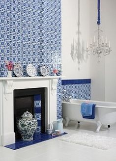 Provenza - bring a European twist to your bathroom with these decorative crackle glaze ceramic tiles