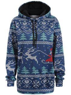 1498d928b60  13.80 Plus Size Kangaroo Pocket Christmas Drawstring Hoodie Plus Size  Hoodies
