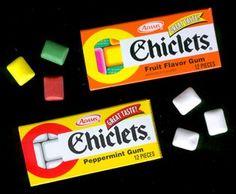 Las cajitas de chiclets Adams...de sabores y colores...