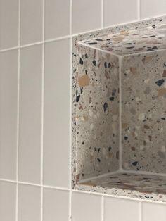 Beautiful Bathrooms, Modern Bathroom, Small Bathroom, Mandarin Stone, Terrazzo Tile, Tiling, Family Bathroom, Bathroom Renos, Bathroom Interior Design