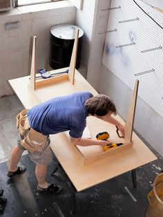 Build This Table From One Sheet of Plywood- this would look cool with the legs painted white