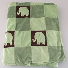 Amy Coe Green/Brown Elephant Mod Patchwork Velour Baby Blanket Limited Edition  #AmyCoe