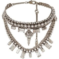 radà accessori Women's Layered Crystal Bib Necklace (5,065 MXN) ❤ liked on Polyvore featuring jewelry, necklaces, silver, multi layer necklace, oxidised necklace, long bib necklace, lobster clasp necklace and adjustable necklace