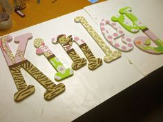 Hand Painted - Jungle Jill Wooden Letters - Custom - Nursery Letters. $12.00, via Etsy.