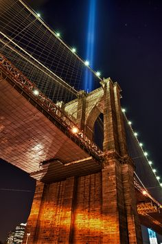 NYC. Brooklyn Bridge and tribute lights   // via flickr by francis023