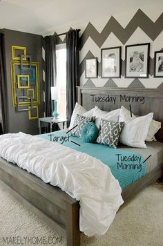 I ABSOLUTELY LOVE THIS COLOR SCHEME!  I love the layered frame wall and the bold chevron print wall. How to Refresh Your Bedroom with Discount Bedding - Makely School for Girls