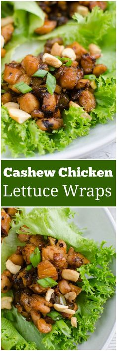 Lettuce Wraps filled with chicken and veggies in a delicious sauce and topped with crunchy cashews. Perfect for healthy meal prep! Healthy Meal Prep, Healthy Salad Recipes, Healthy Cooking, Healthy Eating, Cooking Recipes, Healthy Lunches, Keto Snacks, Recipe Using Chicken, Chicken Recipes