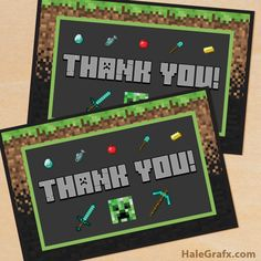 Free printable Minecraft thank you cards