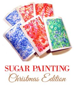 Sugar Watercolor Christmas Paintings   Sugar watercolor art doesn't require any special painting skills, so you can do it with children and it will turn out pretty. You can use the paintings as Christmas cards or frame them. Click through to the instructions on how to make sugar paintings or to download these 6 FREE watercolor textures!