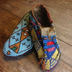 Assinibion or Gros Ventre Fully Beaded Men`s Moccasins - ca. 1875 - 1885
