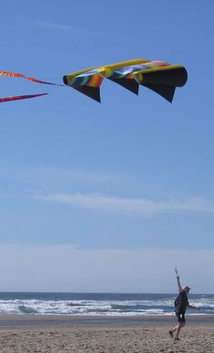 """A large Para-Sled being walked along a beach, after another kite line had severed the line of this kite. The breeze must be fairly light, since these types of kites pull like a horse! T.P. (my-best-kite.com) """"hanging on"""" Cropped from a photo by katrinket on Flickr (cc)."""