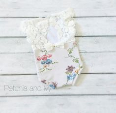 Newborn Grey Floral Print Romper with Lace baby by PetuniaandIvy