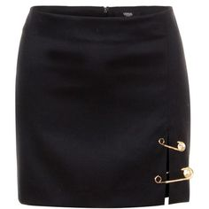 Black Wool Safety Pin Versus Versace Miniskirt found on Polyvore